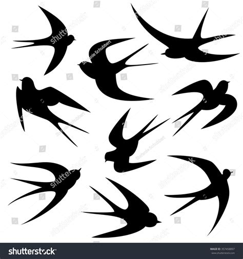 swallows tattoo template vector silhouette stock vector