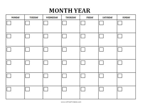 free blank monthly calendar template blank monthly calendar free printable allfreeprintable