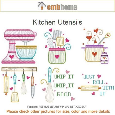 free kitchen embroidery designs kitchen utensils cooking tools machine embroidery designs