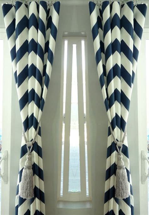 navy blue cotton curtains spring sale pair of two 25 quot cotton navy blue chevron