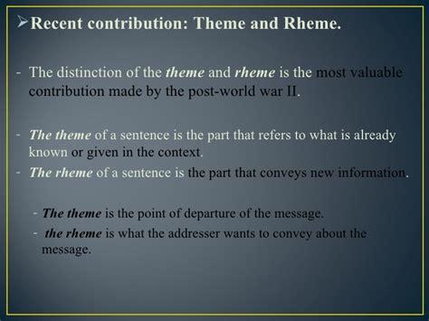 theme rheme exles european linguistics in the 20th century