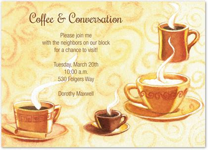 Morning Coffee Time Invitations Myexpression 5396 Coffee Morning Invitations Templates