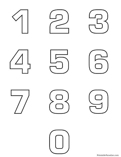 free number templates to print printable number outlines 0 9 on one page montessori and