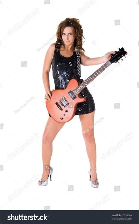 Terlaris High Heels Glitar Silver glam rock guitarist in a black sequin mini