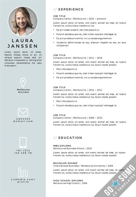 Resume Template Of Melbourne Cv Template Melbourne Gosumo Cv Templates