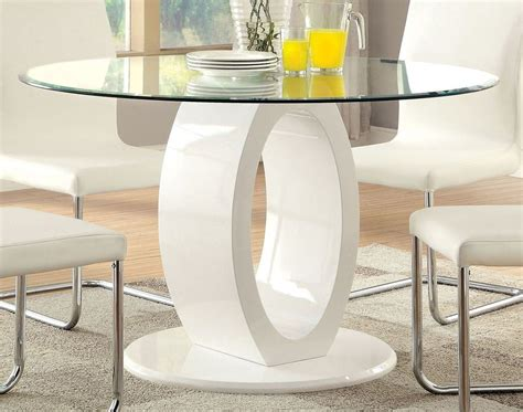 round glass top dining room tables lodia i white glass top round pedestal dining room set