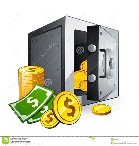 clipart soldi cassaforte e soldi illustrazione vettoriale illustrazione