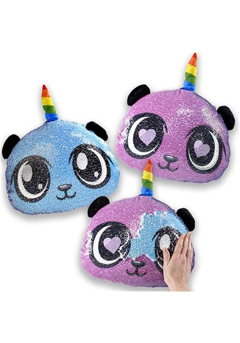 reversible sequin pandacorn pillow