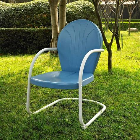 retro lawn chairs blue white outdoor metal retro vintage style chair patio