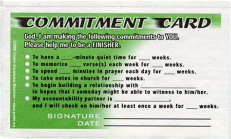 Faith Promise Card Template by Commitment Cards