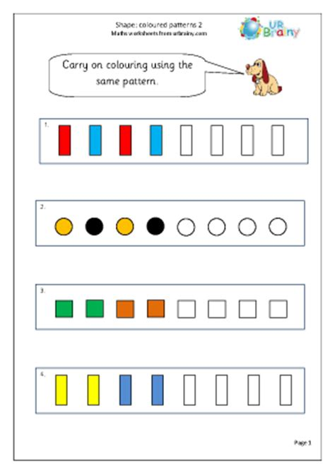 pattern worksheet ks1 shape colour patterns 2 geometry shape maths worksheets