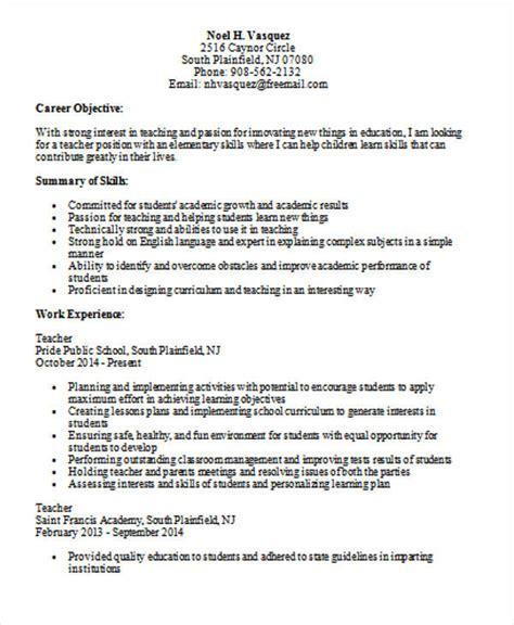 Elementary School Resume by Elementary Resume Template Sle