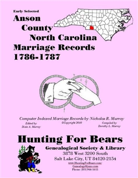 Anson County Records Early Anson County Carolina Marriage Records 1786 1787 Open Library