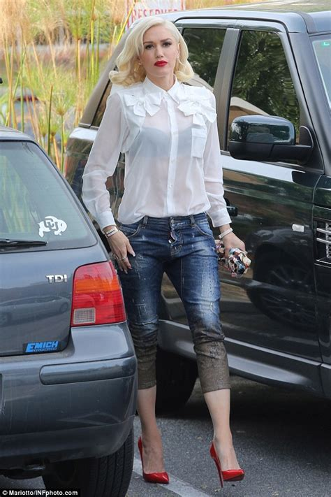 Black Bra Sheer White Blouse by Sheer Delight Gwen Stefani Wears See Through White Blouse
