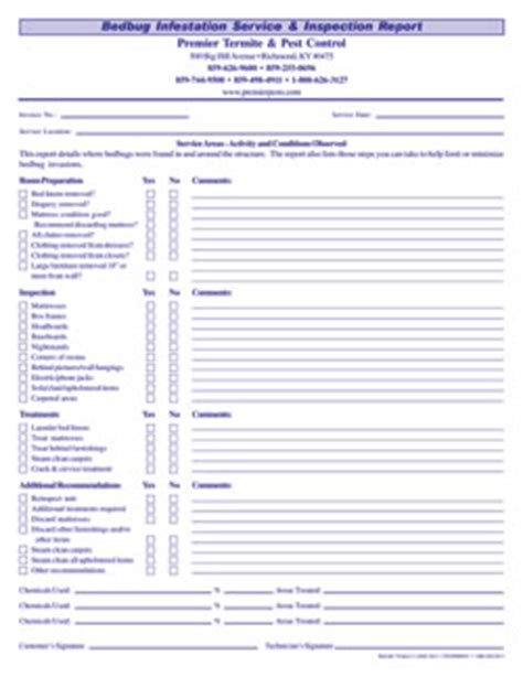 bed bug checklist bed bug infestation service inspection report 3 part