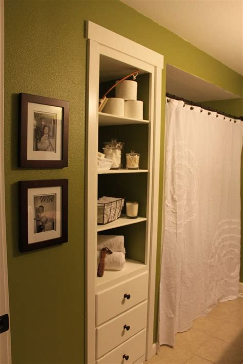 Built In Shelves In Bathroom Behr Grape Leaves Green And White Bathroom White Shower Curtain From Target Bathroom Built In