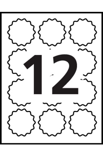 Avery 174 Scallop Gold Round 24488 Template 12 Labels Per Sheet Avery Scallop Labels Template