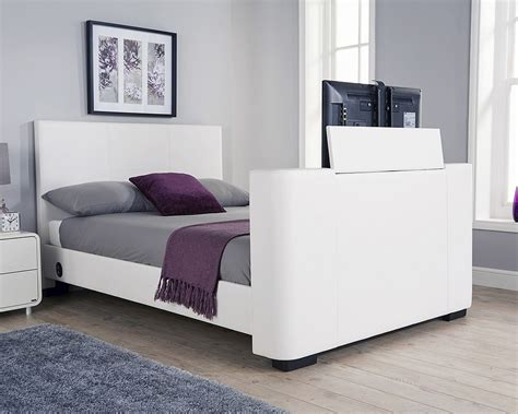 tv beds milan bed company newark 4ft 6 double tv bed white