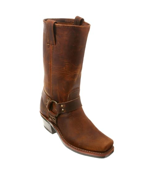 frye s harness 12r boots in brown lyst
