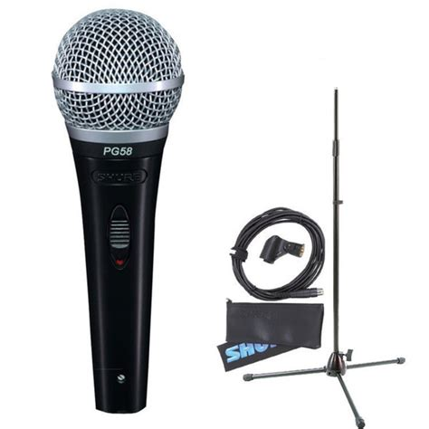 Stand Microphone Vocal shure pg58 with mic stand and cable at gear4music