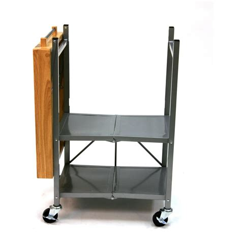 origami folding kitchen island cart origami 174 folding kitchen island cart 224145 kitchen dining at sportsman s guide