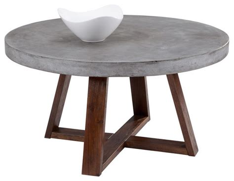 Sunpan Devons Rustic Concrete Round Coffee Table   Scandinavian   Coffee Tables   by Overstock.com
