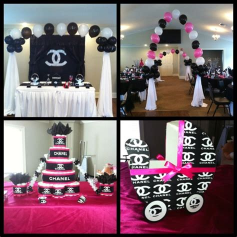 chanel theme baby shower but with light pink instead of
