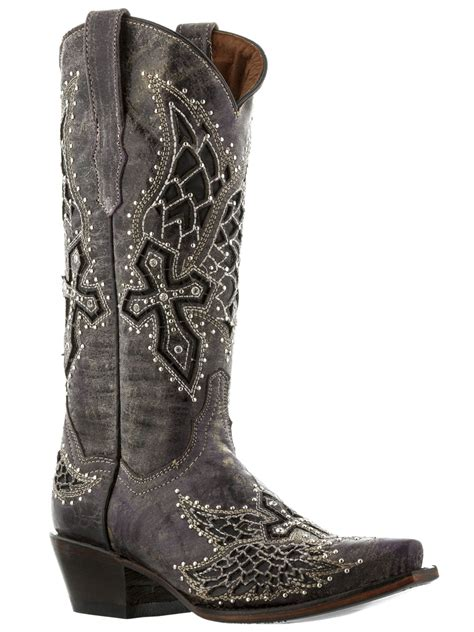 boots with crosses womens wings cross rhinestones studded leather