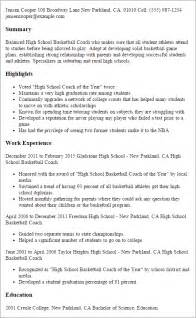 High School Graduation Coach Sle Resume by Professional High School Basketball Coach Templates To