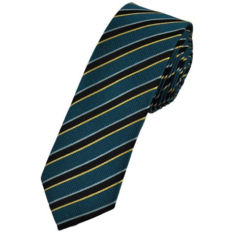 blue black silver gold striped tie from ties