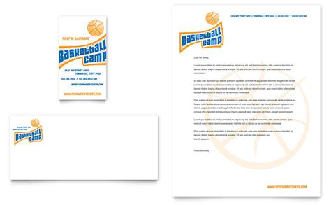 basketball sports c business card letterhead template