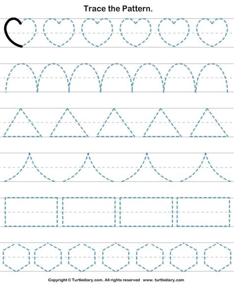 pattern practice worksheet trace the pattern turtlediary com okuma yazmaya