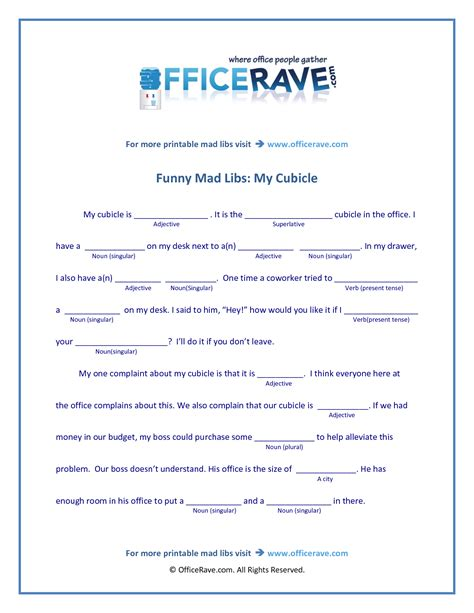 printable games for the workplace mad libs printable free printable mad libs funny