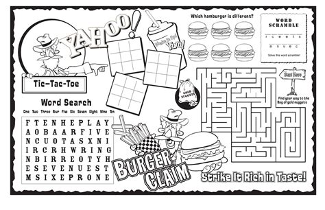 printable hamburger maze kids activity sheets kiddo shelter