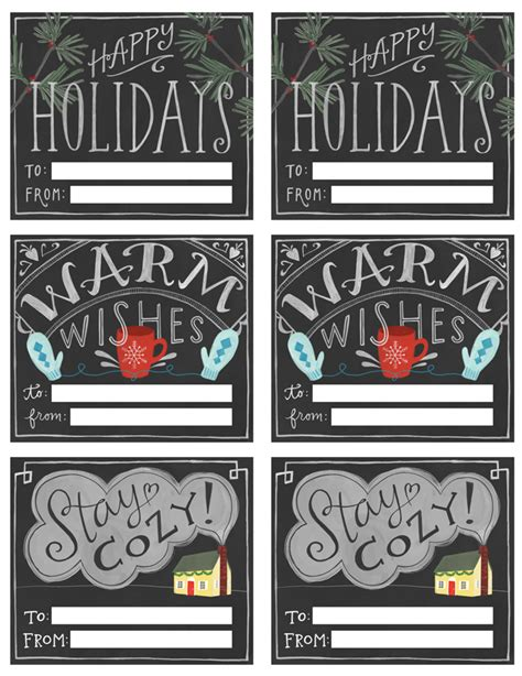 printable chalkboard tags 100 free holiday printables free printables included