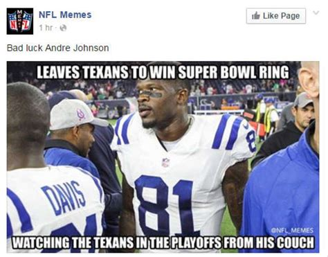 Nfl Memes - week 17 nfl memes not kind to ex texans star andre johnson