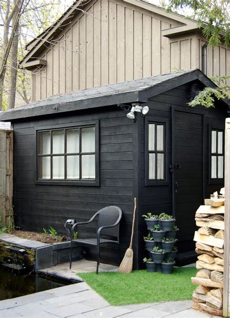 potting shed before and after painting with a spray gun