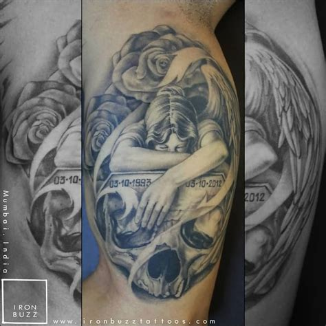 tattoo angel skull 45 memorial angel tattoos ideas
