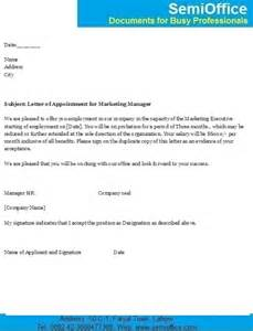 appointment letter for marketing executive and manager