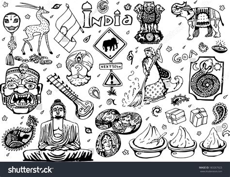 doodle god india india collection blackwhite 2 eps10 vector stock vector