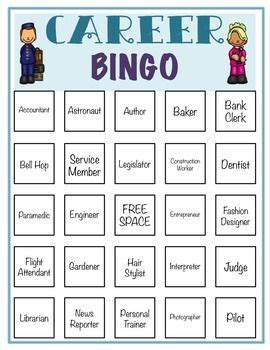 Career Bingo Counseling Game Community Helper Counseling