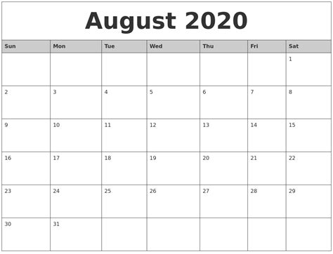 monthly calendar template printable august 2020 monthly calendar printable