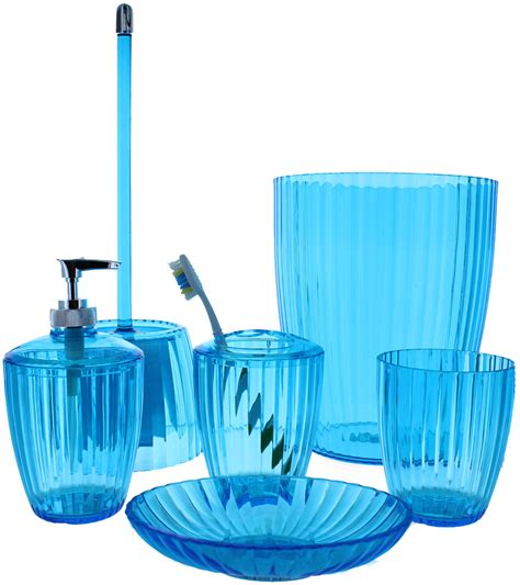 Acrylic Ribbed Aqua Blue Bath Accessories Aqua Bathroom Accessories