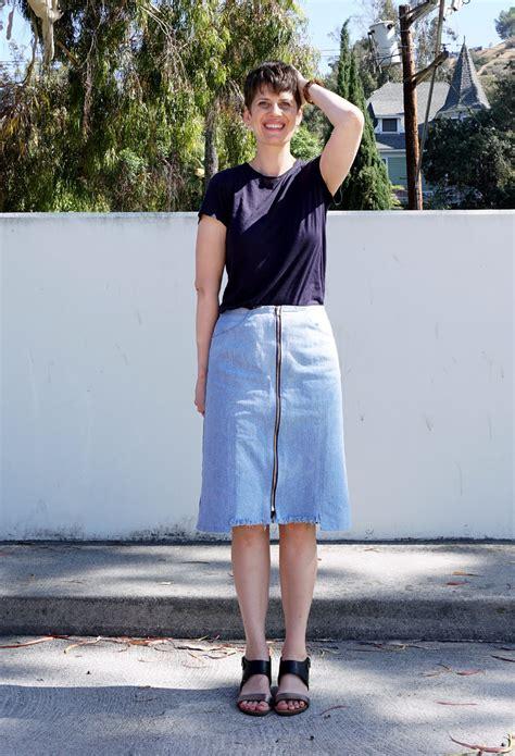 refashioners 2016 diy zip front denim skirt sew diy