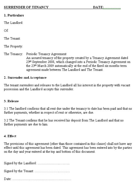Template For Ending Tenancy Agreement by Landlord Ending A Tenancy Agreement Letter Template