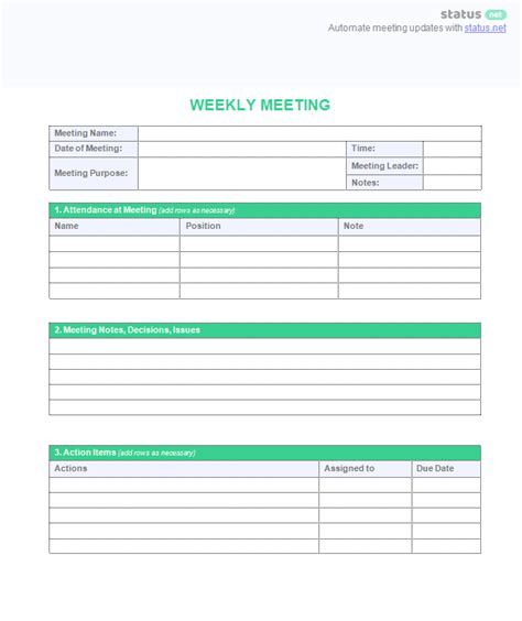 weekly meeting minutes template weekly meeting agenda template plus sle schedule