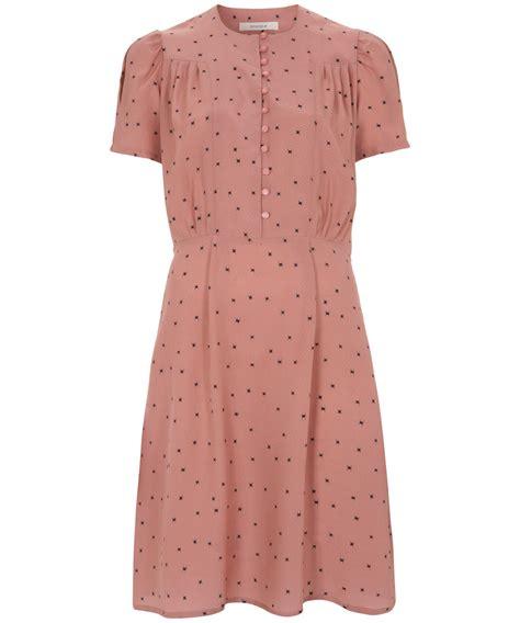 Silk Pink Dress sessun pink capricom printed silk tea dress in pink lyst