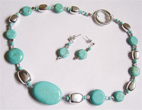 Handcrafted Turquoise Jewelry - blue turquoise handmade necklace earring set on luulla