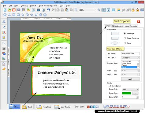 Gift Card Software - business card maker software designs business cards in various shapes