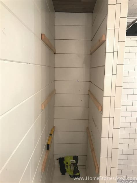 next home bathroom storage how to build bathroom shelves next to shower